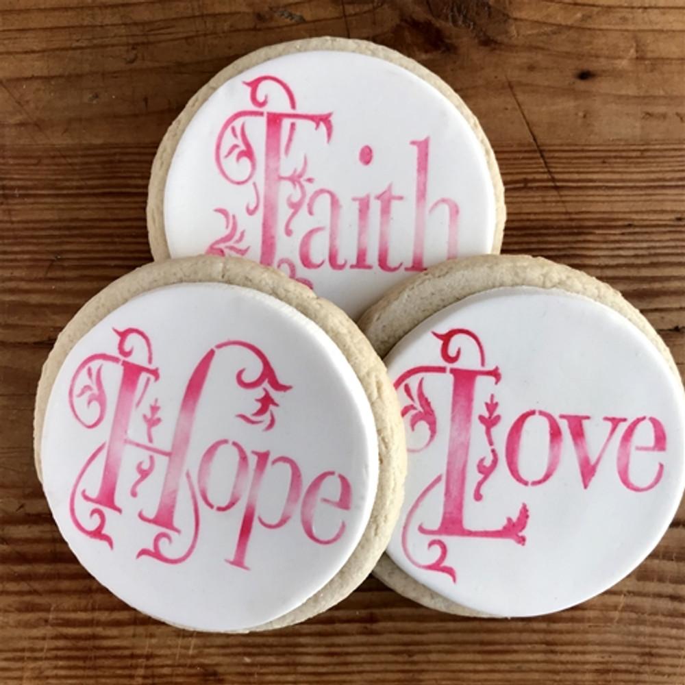Hope, Faith and Love Cookie Stencil Set