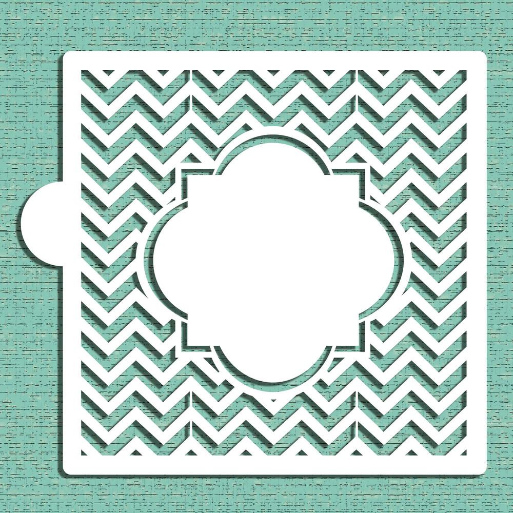 Chevron Monogram Plaque Cookie and Craft Stencil