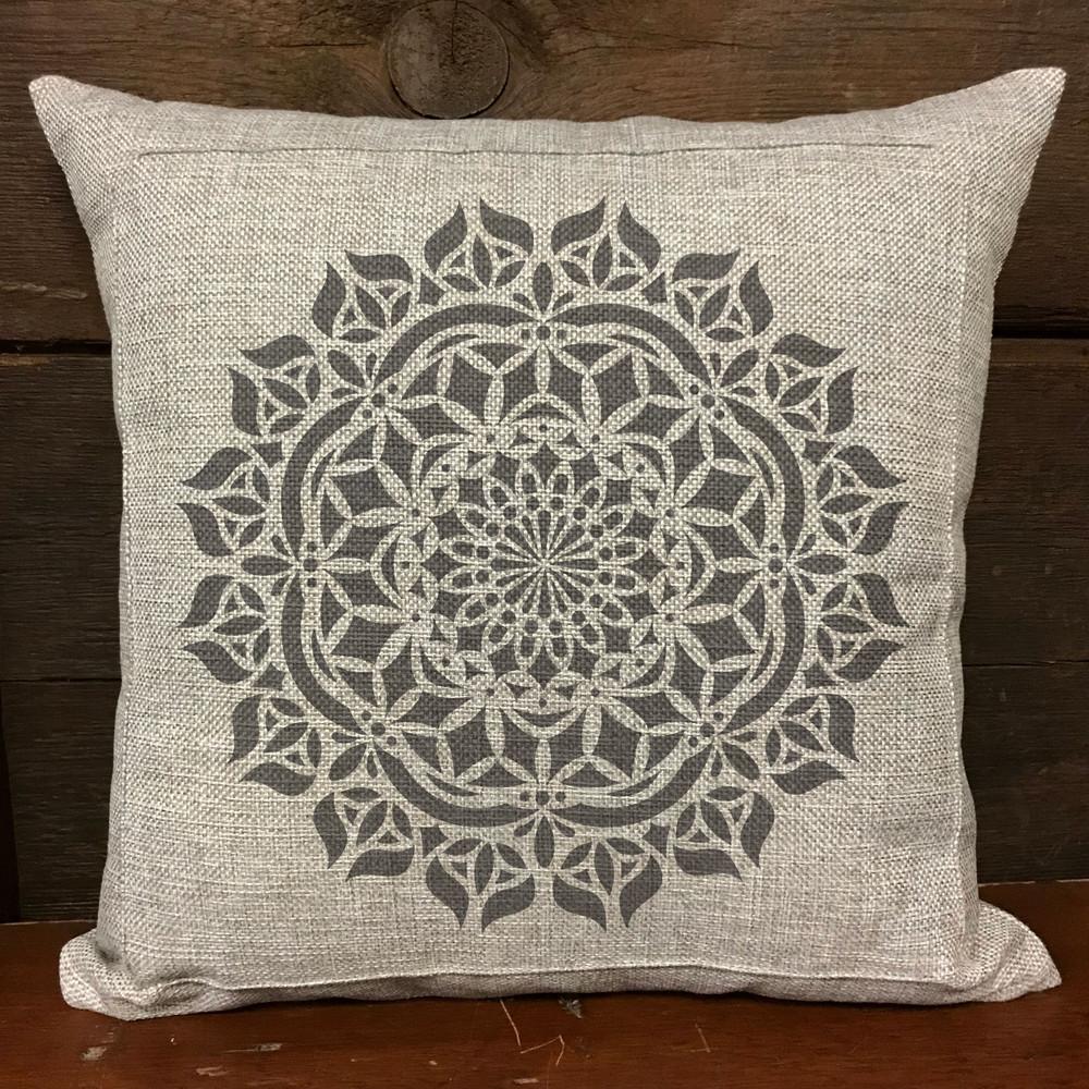 Asana Mandala Stencil Pillow