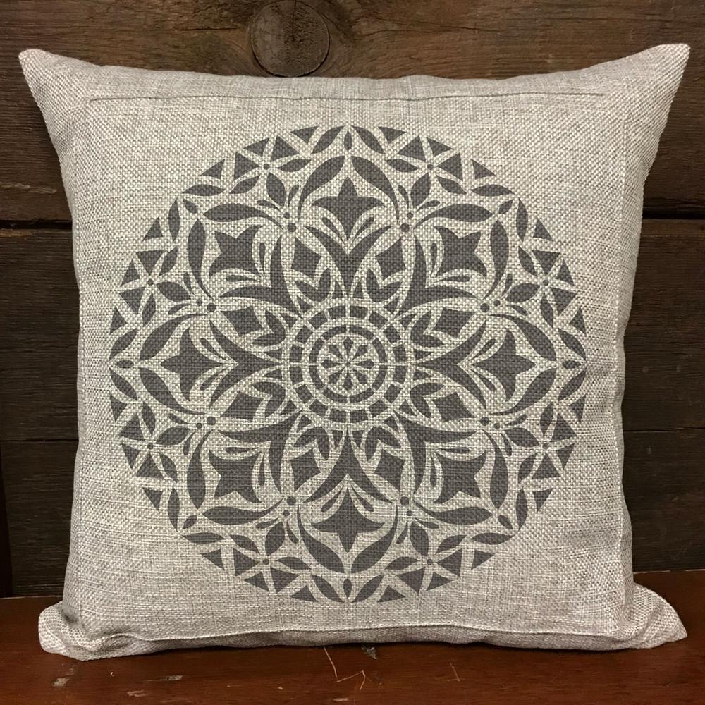 Vedas Manadala Stencil Pillow