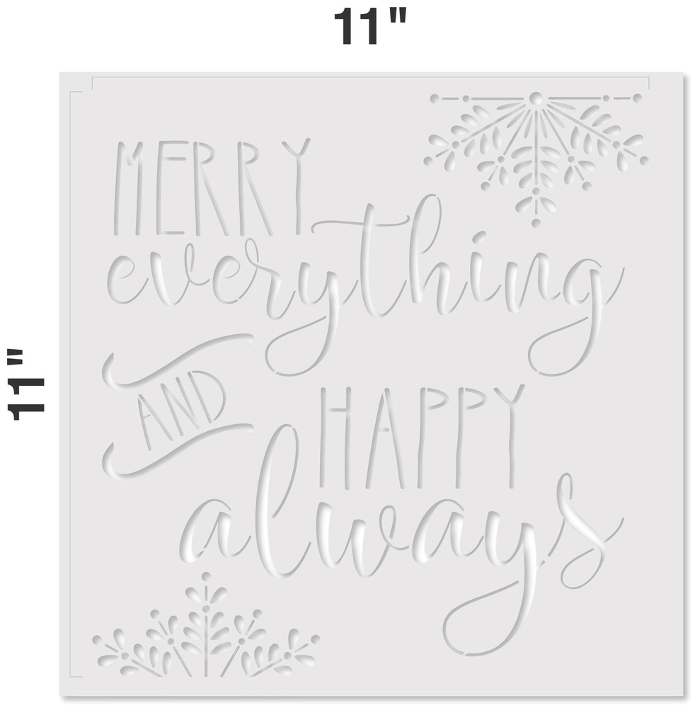 """Merry Everything and Happy Always"" Sign Stencil Measurements"