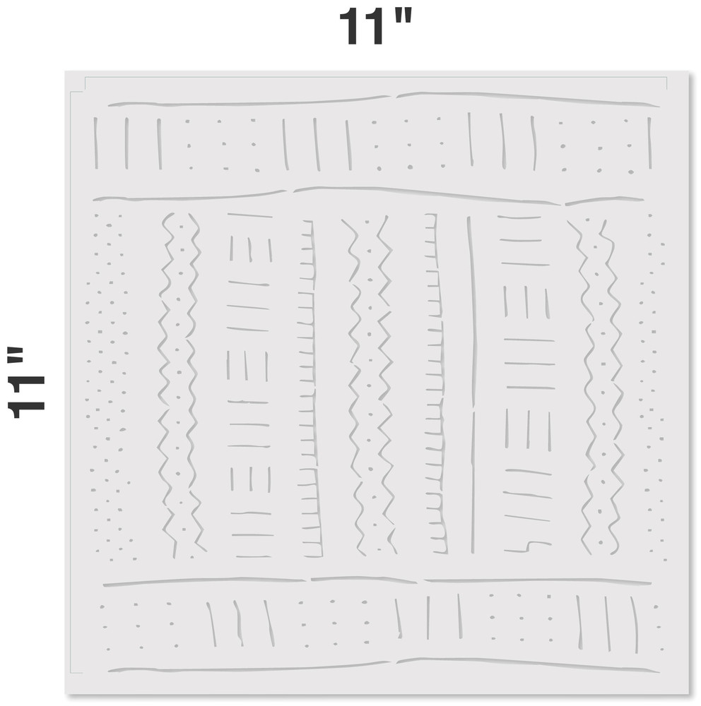 Mudcloth All Over Stencil Pattern Measurements