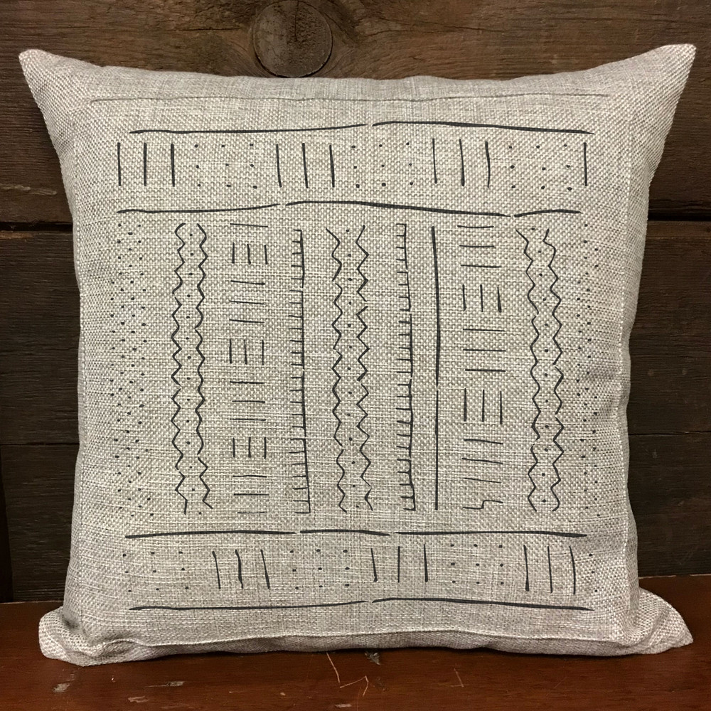 Mudcloth All Over Stencil Pattern Pillow