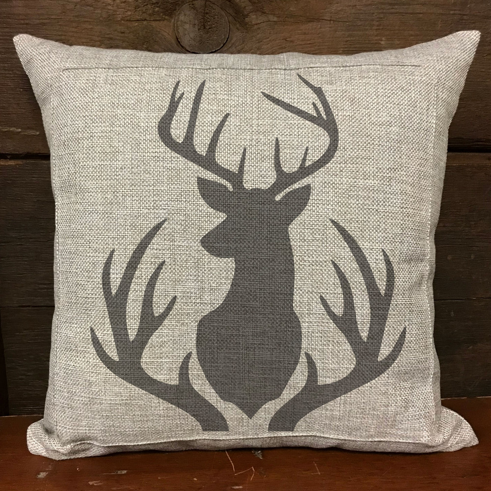 Buck Mount and Antlers Stencil Pillow