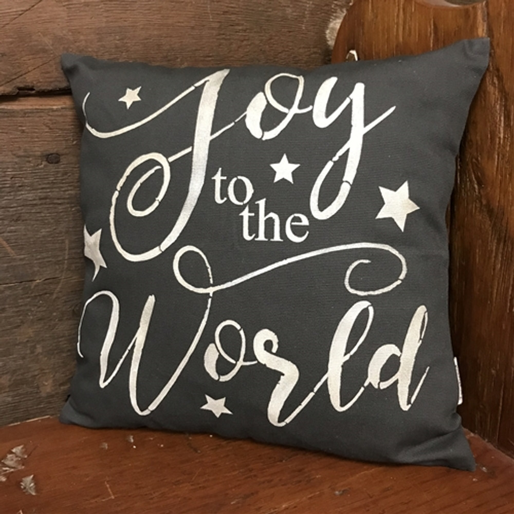 """""""Joy To The World"""" Sign Stencil Pillow"""