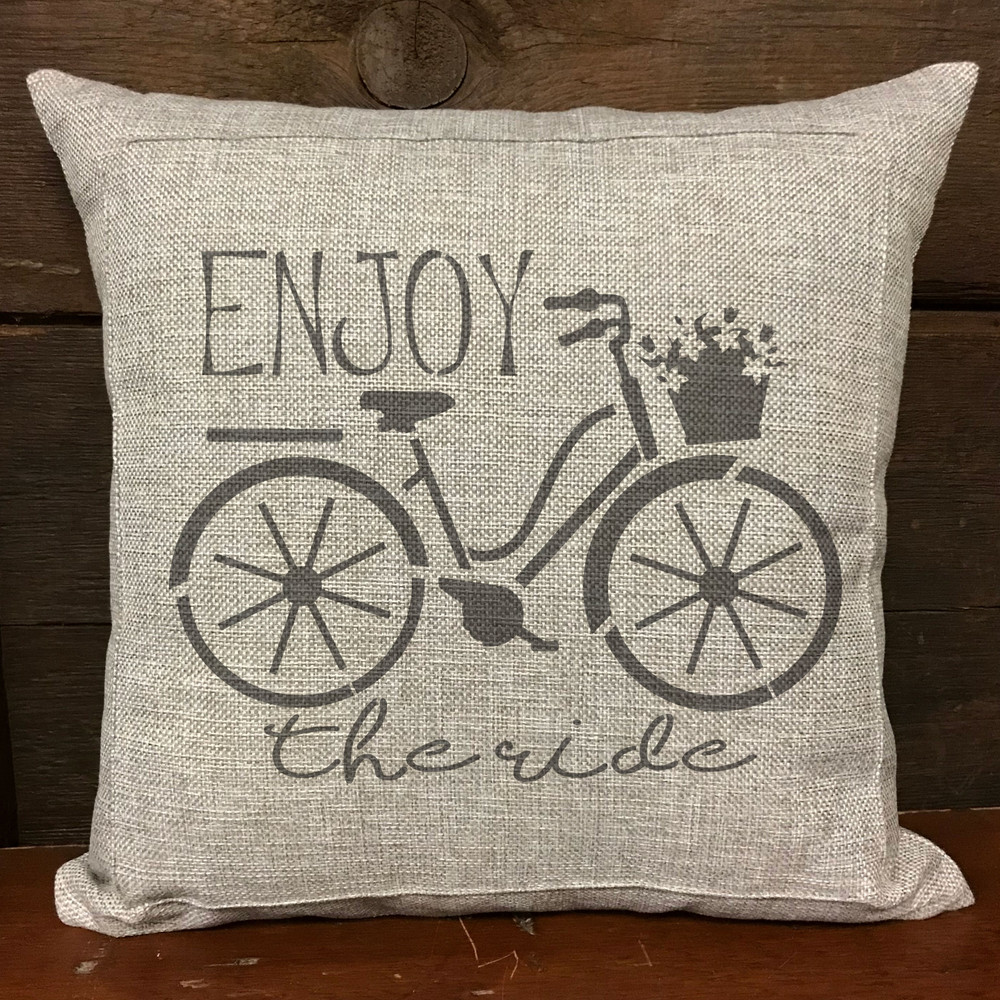 Enjoy the Ride Bicycle Stencil Pillow