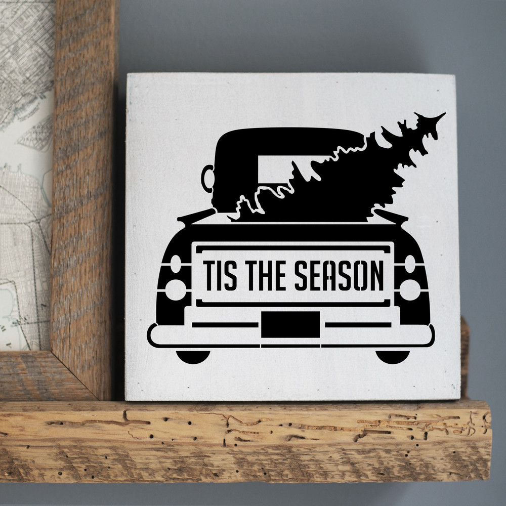 Tis the Season Vintage Truck with Tree Stencil Sign