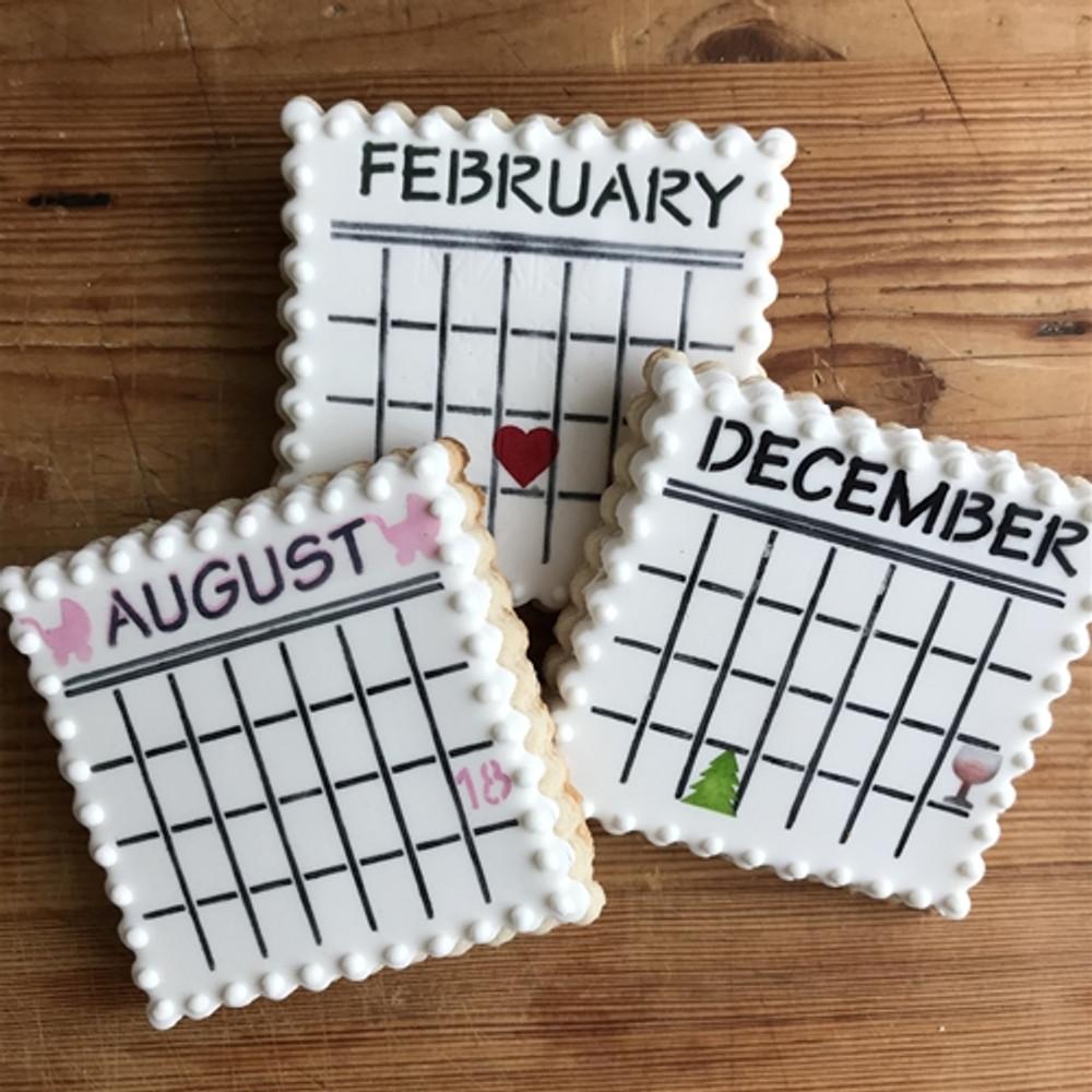 Save the Date Calendar Cookie Stencil Set