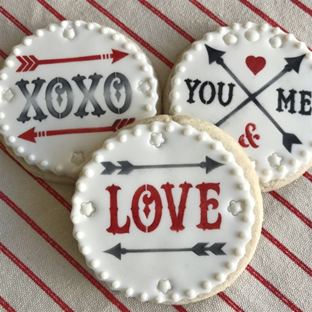 LOVE and Arrows Cookie Stencil Set
