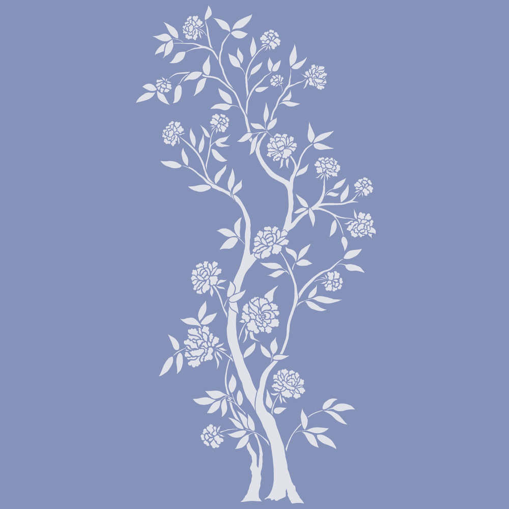 Chinoiserie Rose Tree Wall Stencil