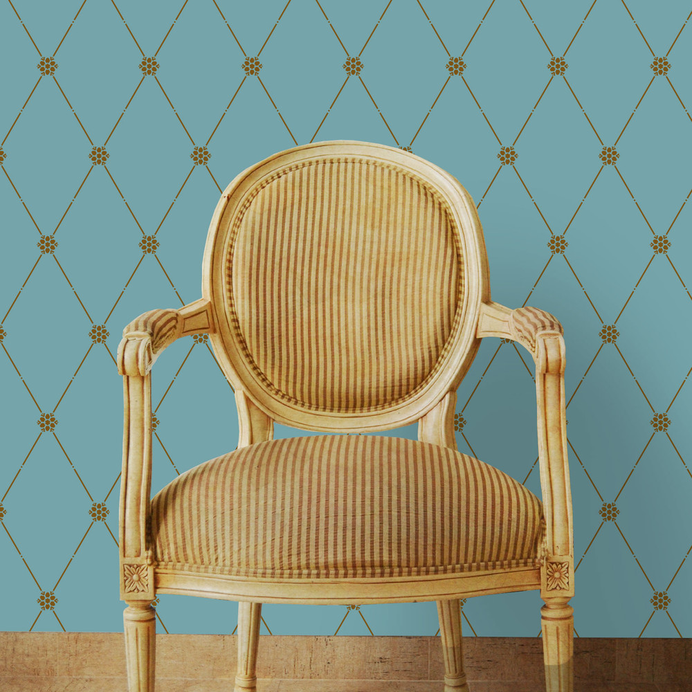 Winterthur Empire Diamond Wallpaper  -Small Wall Stencil