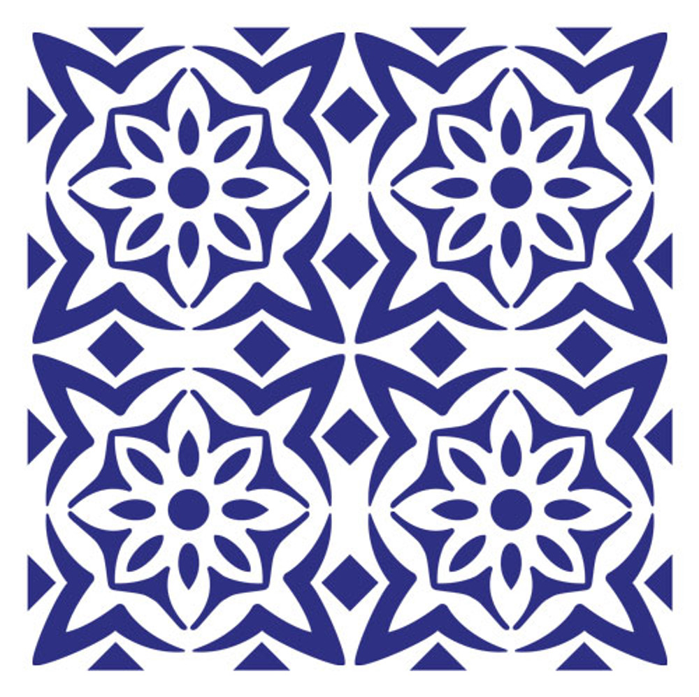 Flower Tile Wall Stencil
