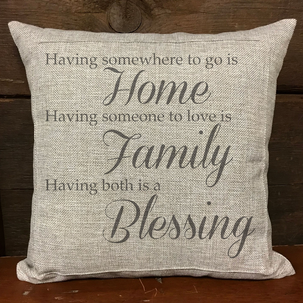 Home Family Blessing Stencil Pillow