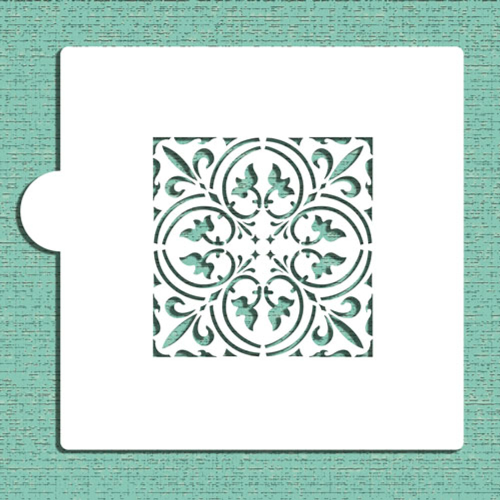 """Small Scroll Tile (3"""") Cookie and Craft Stencil"""