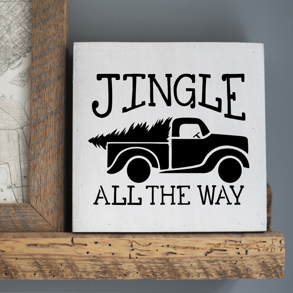 Jingle All The Way Vintage Truck with Tree Stencil Sign