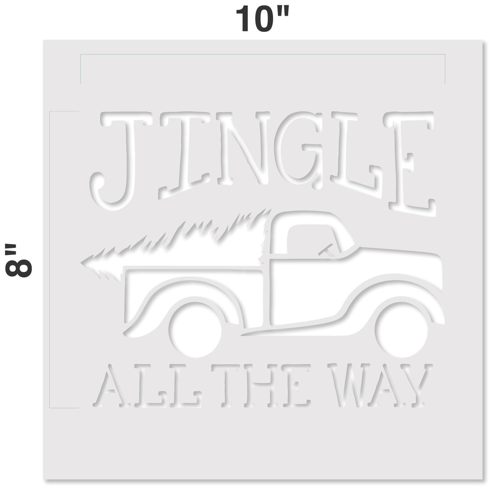 Jingle All The Way Vintage Truck with Tree Stencil Measurements