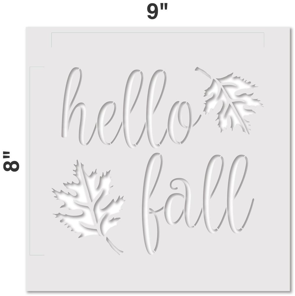 hello fall stencil Measurements