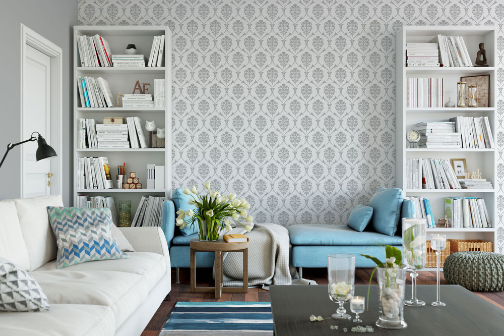 Victoria Damask All Over Wall Stencil In Room