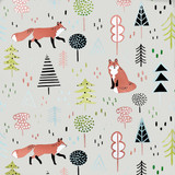 Fox in the Forest All Over Wall Stencil by Victoria Borges