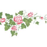 Small Rose Ivy Border Wall Stencil