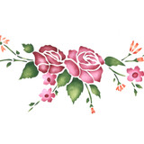 Rose Spray Wall Stencil Border