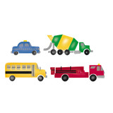 Small Truck,  Bus, Fire Engine and Police Car Stencil Border