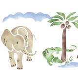 Safari with an Alligator Wall Stencil