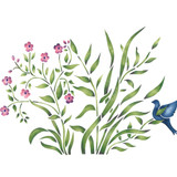 Grass with Bird and Flowers Wall Stencil
