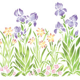 Small Iris, Daffodil and Violet Garden Wall Stencil