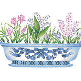 Spring Bulbs in Porcelain Bowl Wall Stencil