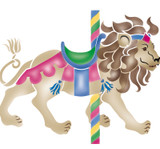 Large Carousel Lion Wall Stencil