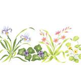Iris Mix Floral Border Wall Stencil