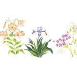 Lily Flower Mix Border Wall Stencil