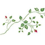 Small Rosebud Vine Wall Stencil