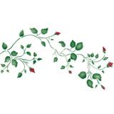 Large Rosebud Vine Wall Stencil