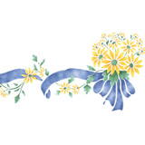 Daisy Bouquet with Ribbon Wall Stencil