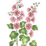 Small Hollyhock Flower Wall Stencil