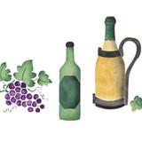Wine Bottle Border Wall Stencil