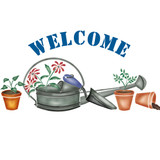 Welcome Watering Can Wall Stencil