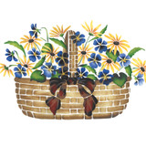 Small Violet and Daisy Basket Wall Stencil