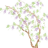 Wisteria Tree Wall Stencil