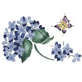 SIngle Hydrangea and Butterfly Wall Stencil