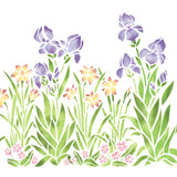 Large Iris, Daffodil and Violet Garden Wall Stencil