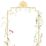 Scroll and Floral Dining Panel Wall Stencil