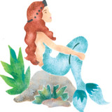 Profile of a  Mermaid Wall Stencil