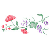 Rose and Berry Vine Wall Stencil