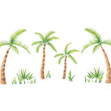 Palm Tree Border Wall Stencil