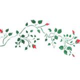 Smaller Rosebud Vine Wall Stencil