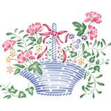 Large Flower Basket Wall Stencil