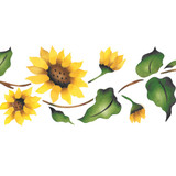 Sunflower Border Wall Stencil